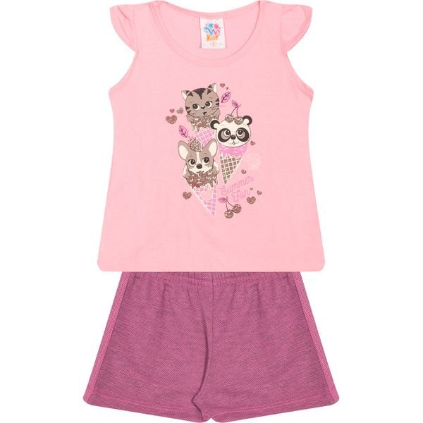 Conjunto Infantil Blusa e Shorts Summer Fun Rosa - Wilbertex