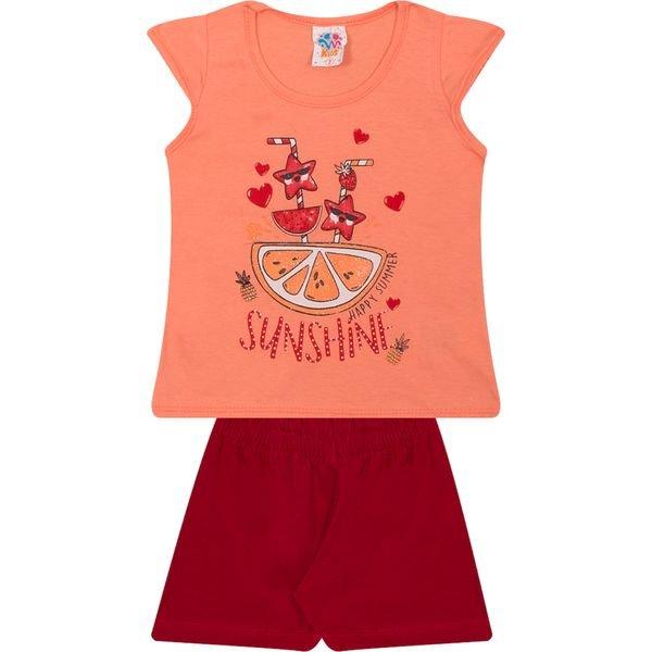 Conjunto Infantil Blusa e Shorts Sunshine Salmão - Wilbertex