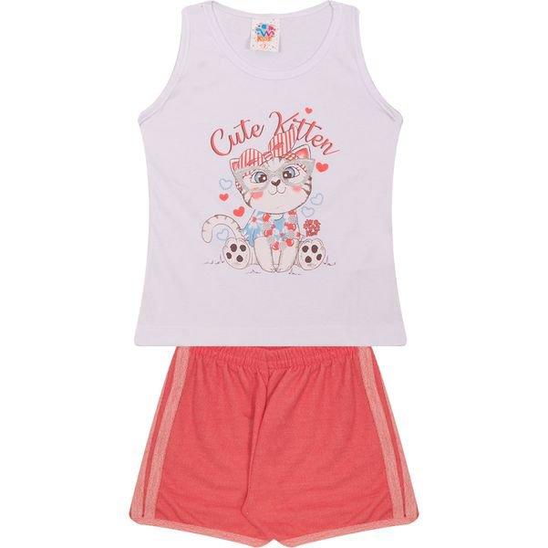 Conjunto Infantil Regata e Shorts Cute Kitten Branco - Wilbertex