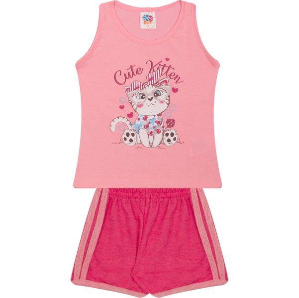 Conjunto Infantil Regata e Shorts Cute Kitten Rosa - Wilbertex