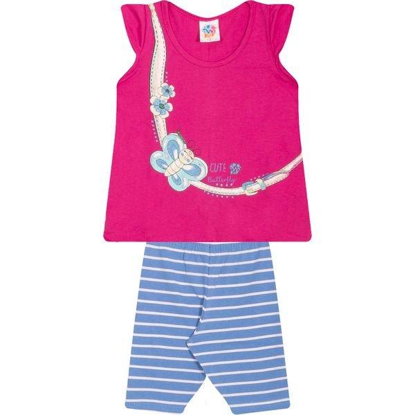 Conjunto Infantil Blusa e Ciclista Borboleta Pink - Wilbertex
