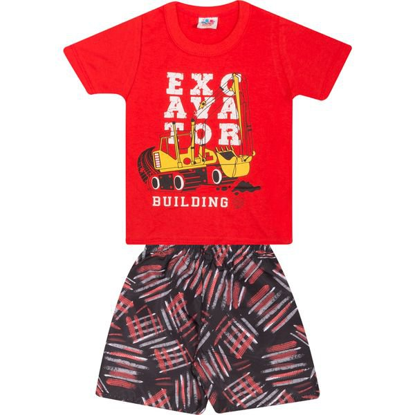 Conjunto Infantil Blusa e Bermuda Vermelho - Wilbertex