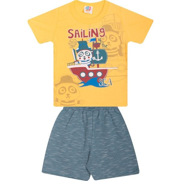 Conjunto Infantil Camiseta e Bermuda Amarelo - Wilbertex
