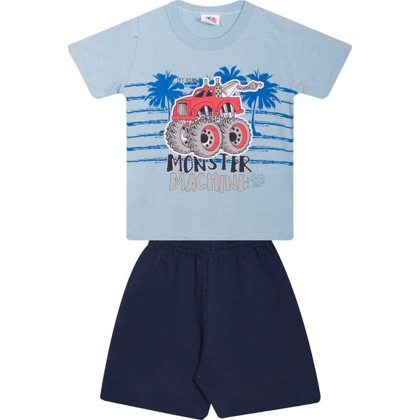 Conjunto Infantil Camiseta e Bermuda Azul - Wilbertex