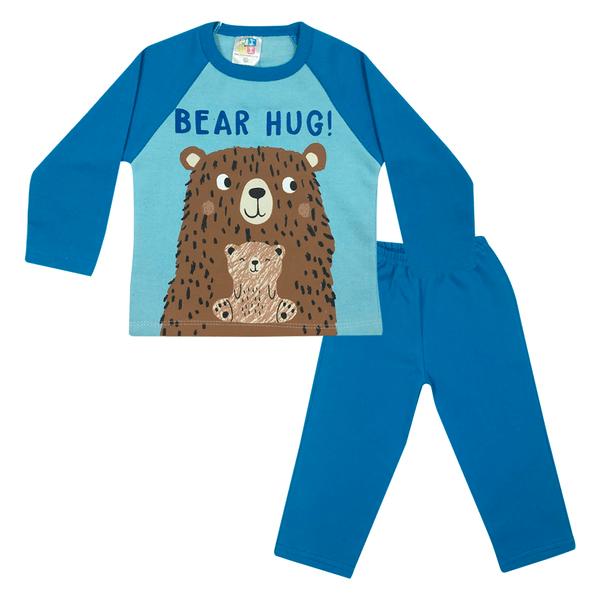 Conjunto Bebê Blusão De Moletom e Calça Bear Hug Azul - Jidi