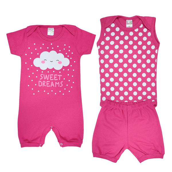 Kit Macacão Bebê 3 Peças Pagão Nuvem Pink - Dino Kids