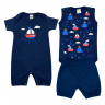 kit macacao bebe 3 pecas pagao navio marinho dino kids