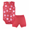 conjunto bebe body e shorts pagao envelope estrela coral dino kids