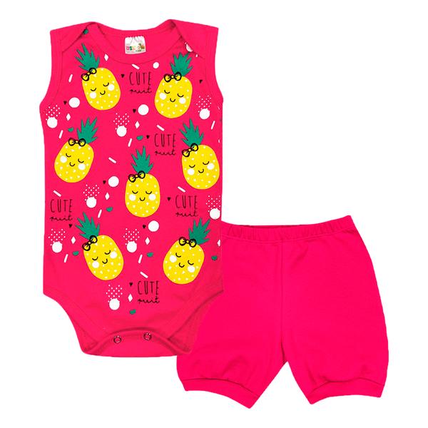 conjunto bebe body e shorts pagao envelope abacaxi pink dino kids