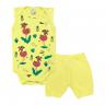conjunto bebe body e shorts pagao envelope flamingo amarelo dino kids