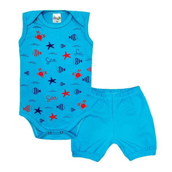 conjunto bebe body e shorts pagao envelope peixes azul dino kids