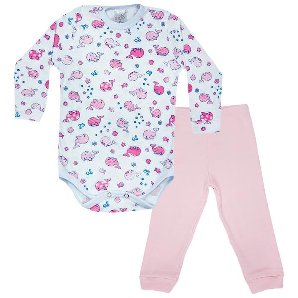 conjunto bebe body e calca pagao envelope baleia rosa vestir com amor