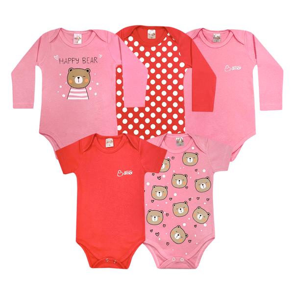 kit body bebe 5 pecas pagao urso rosa dino kids min