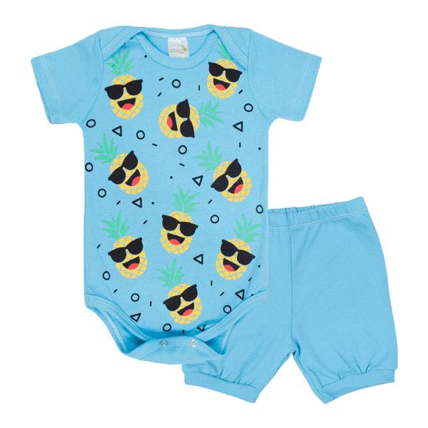 conjunto bebe body e shorts pagao envelope abacaxi azul dino kids min