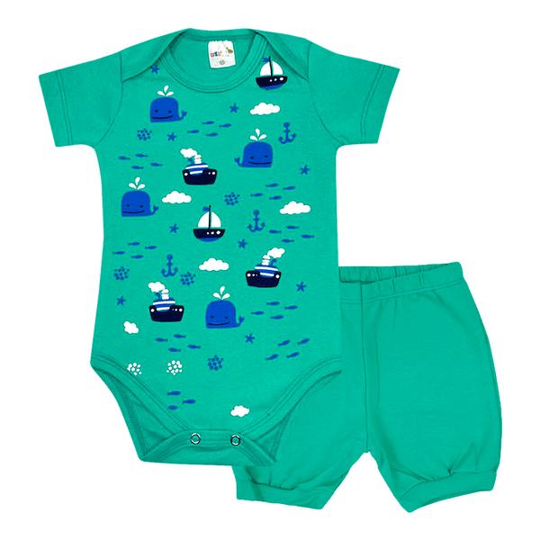 conjunto bebe body e shorts pagao envelope barco verde dino kids min