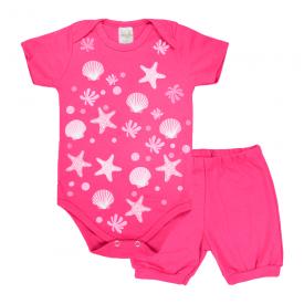 conjunto bebe body e shorts pagao envelope estrela pink dino kids min