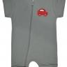 macacao curto bebe de suedine abertura de ziper cinza carros vestir com amor