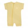 macacao curto bebe de suedine abertura de ziper amarelo tigre vestir com amor
