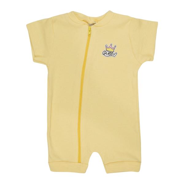 macacao curto bebe de suedine abertura de ziper amarelo coroa vestir com amor