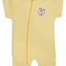 macacao curto bebe de suedine abertura de ziper amarelo urso vestir com amor