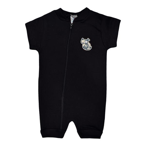 macacao curto bebe de suedine abertura de ziper preto dog vestir com amor