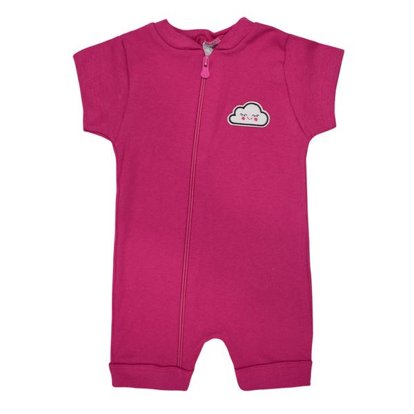 macacao curto bebe de suedine abertura de ziper pink nuvem vestir com amor