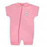 macacao curto bebe de suedine abertura de ziper urso rosa vestir com amor