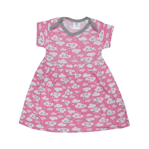 vestido bebe decote americano avulso nuvem rosa vestir com amor