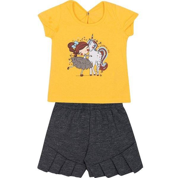 conjunto bebe blusa e shorts unicornio amarelo e mescla vestir com amor