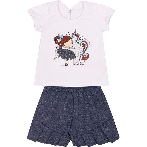 conjunto bebe blusa e shorts unicornio bracno e marinho vestir com amor