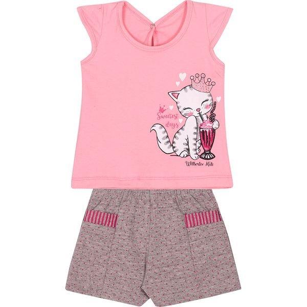 conjunto bebe blusa e shorts gato rosa e pink vestir com amor