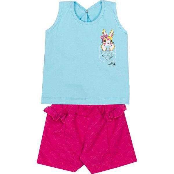 conjunto bebe regata e shorts coelho azul e pink vestir com amor