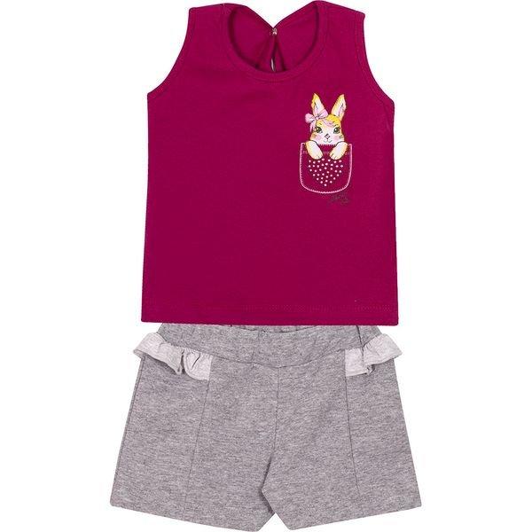 conjunto bebe regata e shorts coelho uva e mescla vestir com amor