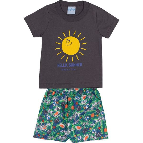 conjunto bebe camiseta e bermuda summer chumbo vestir com amor