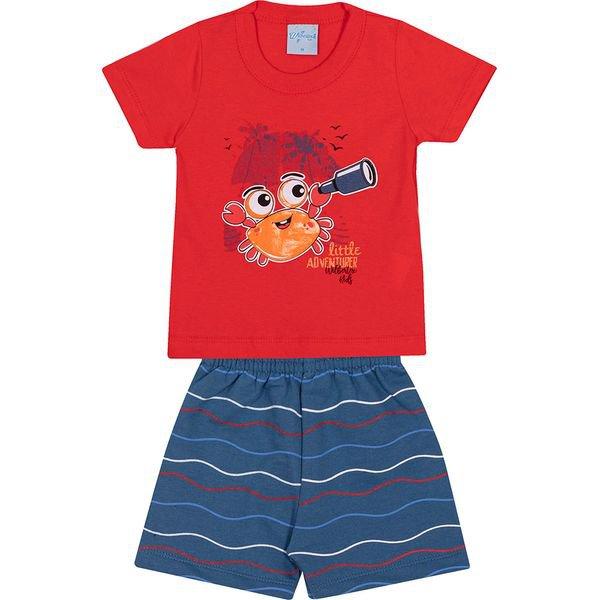 conjunto bebe camiseta e bermuda caranguejo vermelho vestir com amor