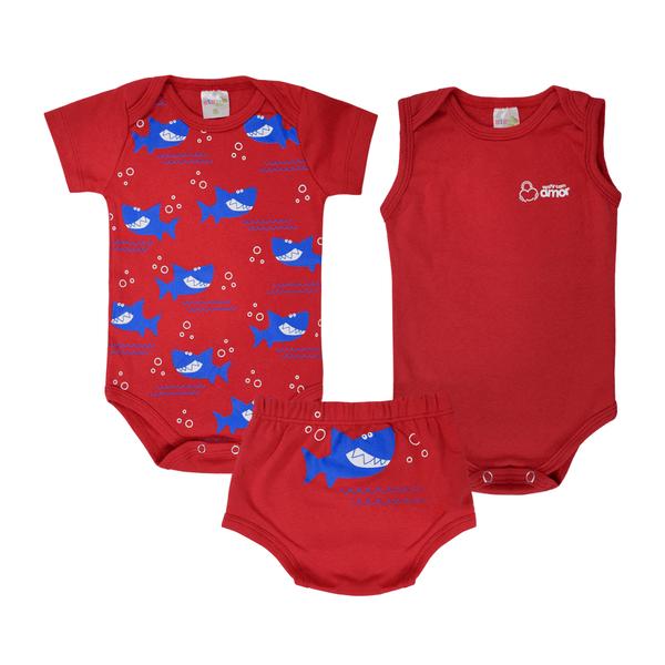 kit body bebe 3 pecas pagao tubarao vermelho vestir com amor