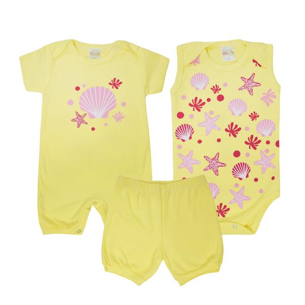 kit banho de sol bebe 3 pecas pagao estrela amarelo dino kids
