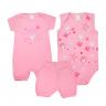 kit macacao bebe 3 pecas pagao estrela rosa dino kids