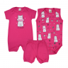 kit macacao bebe 3 pecas pagao cute pink dino kids