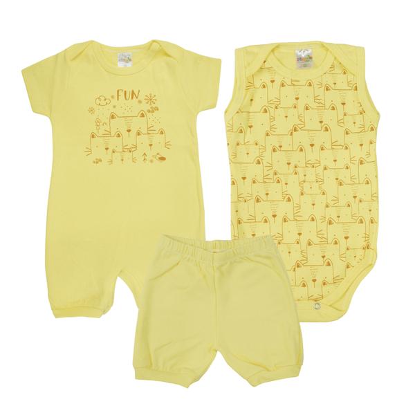 kit macacao bebe 3 pecas pagao fun amarelo dino kids