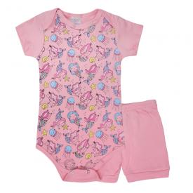 conjunto bebe body e shorts pagao envelope rosa sereia vestir com amor