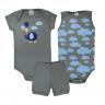 kit body bebe 3 pecas pagao elefante cinza vestir com amor