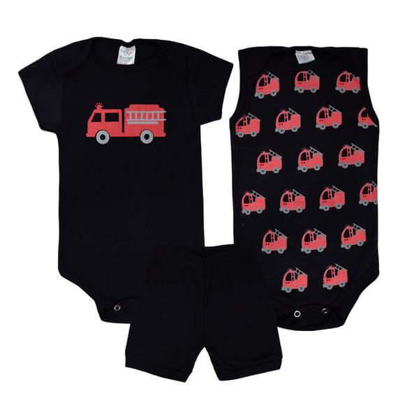 kit body bebe 3 pecas pagao bombeiro preto vestir com amor