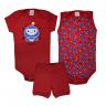 kit body bebe 3 pecas pagao robo vermelho vestir com amor