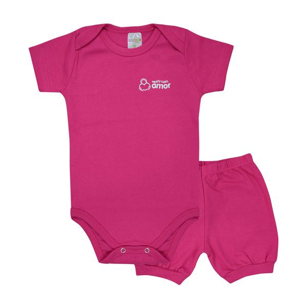 conjunto bebe body e shorts pagao envelope pink dino kids