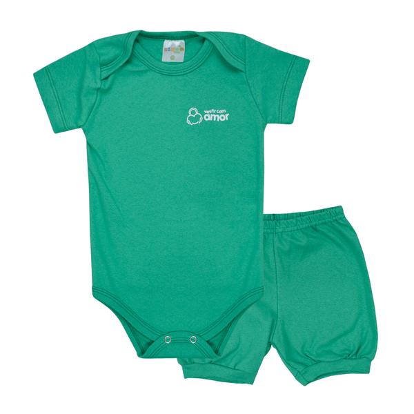 conjunto bebe body e shorts pagao envelope verde dino kids