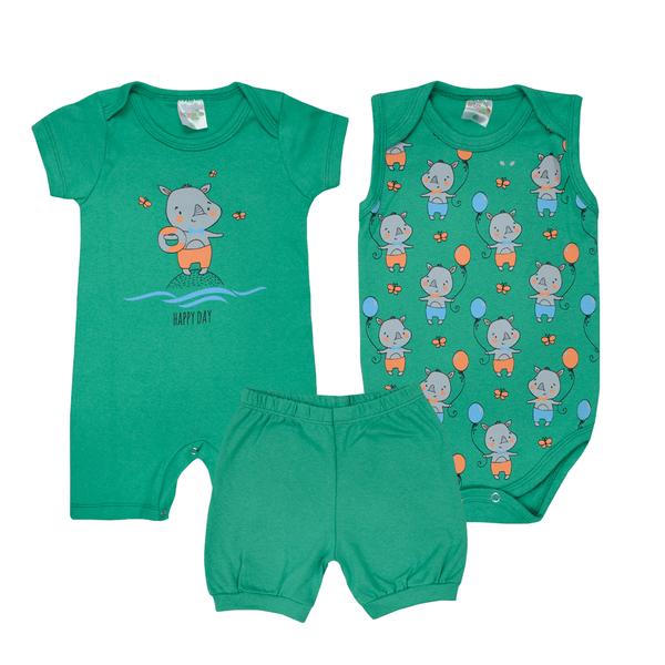 kit banho de sol bebe 3 pecas pagao happy day verde dino kids