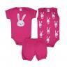 kit body bebe 3 pecas pagao coelho pink dino kids