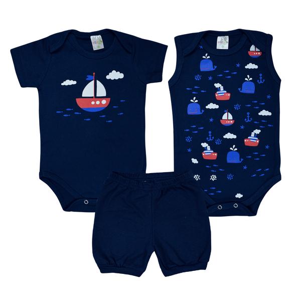 kit body bebe 3 pecas pagao barco marinho dino kids