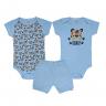 kit body bebe 3 pecas pagao tigre azul vestir com amor